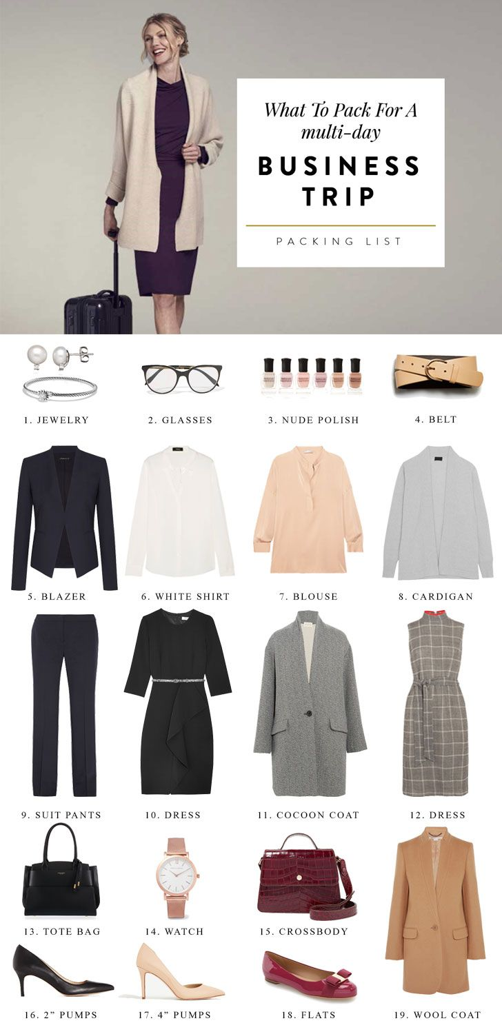 A helpful 4 day business trip packing list for women that includes outfit ideas for conferences, travel, client meetings and networking events.