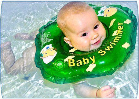Original BabySwimmer mit Farbauswahl, Badekragen Hals Schwimmring Schwimmhilfe - rosa 16€