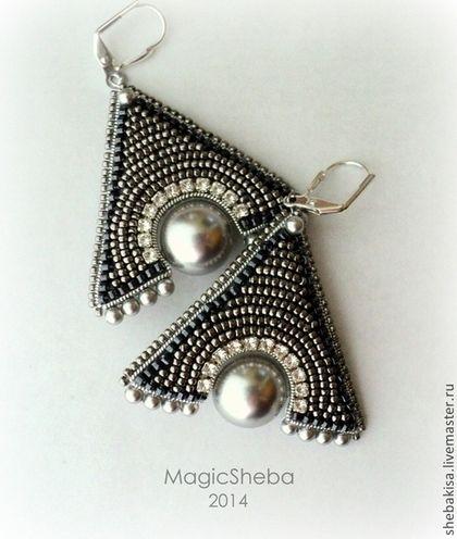 """Серьги """"Мистика"""" - серебряный,темное серебро,серьги-треугольники,треугольные серьги"""