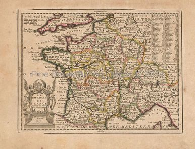Old Map Of France.Royal France Antique Map Chiquet 1719 French Country Home Decor
