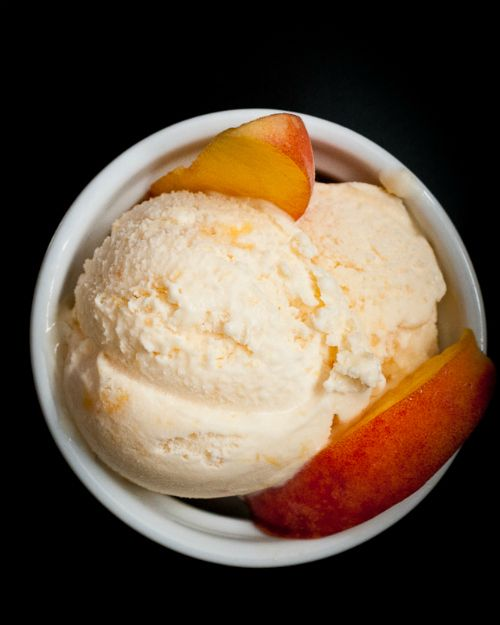 Fresh Peach Ice Cream  5-6 fresh peaches peeled and sliced,  1 1/2 cups granulated sugar,  Juice of 1 large lemon,  1-2 tsp. vanilla extract,  1/8 tsp. almond extract (optional, but delicious)  2 cups heavy cream (don't sub for light cream or half-and-half)