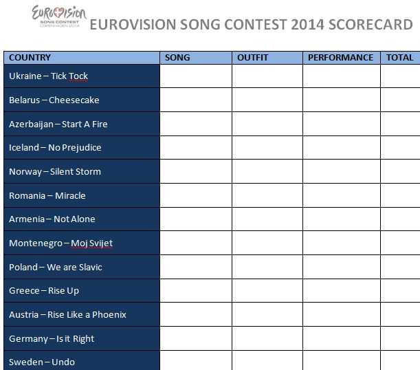 #Eurovision Song Contest 2014 Scorecard. See the printable version at http://www.statussocial.co.uk/eurovision-song-contest-2014-scorecard/