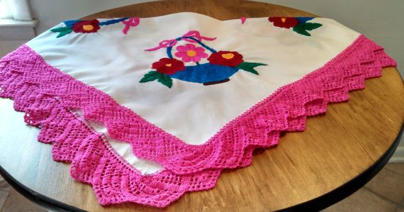 Spring Flower Baskets Tablecloth. Embroidered and Crocheted. Handmade. Vintage.