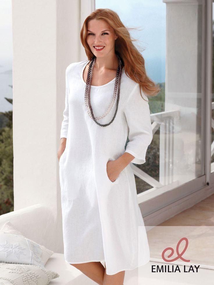 Modisches Leinen-Kleid mit 3/4-Arm von Anna Aura