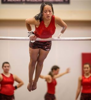 Juanita junior Millie Andrilenas, shown warming up before a meet on Thursday at Mount Si, has finished first, second and fourth in all-aroun...