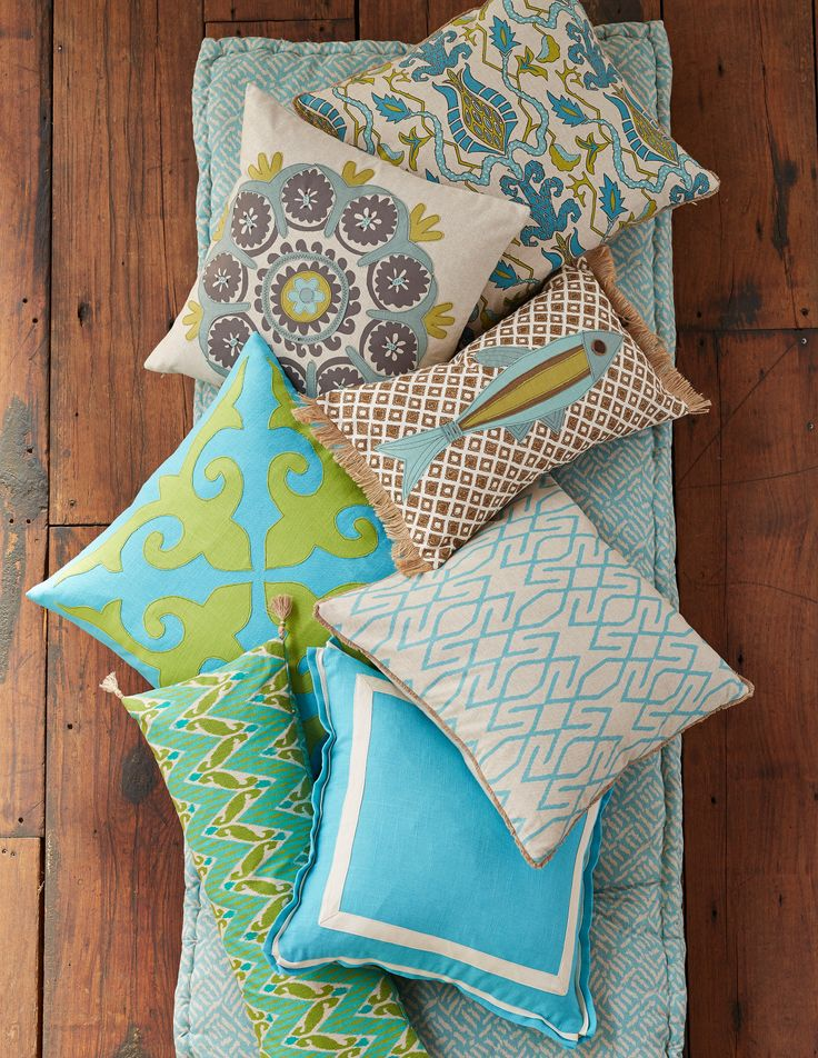 Lacefield Aqua and Cilantro Pillow Collection #lacefielddesigns #pillows #southernmade www.lacefielddesigns.com