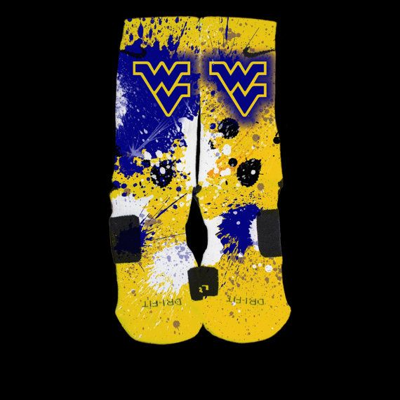 WV Mountaineers Inspired Custom Nike Elite Socks  Each pair is custom created when you order. There are minor flaws in each creation -- no two socks are the same.  These are authentic Nike Elite socks for sale. The design on the sock was not created by Nike, but was created and customized by ...
