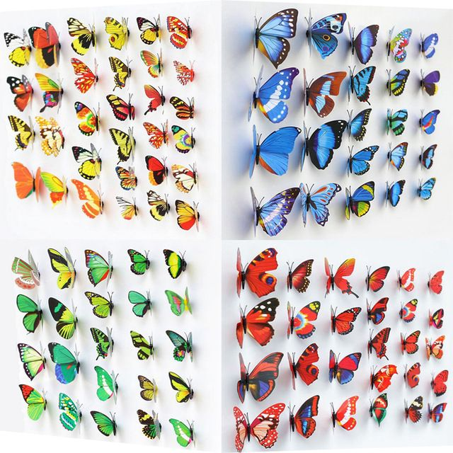 50 pcs Decorative Butterfly Magnet, 6 Colors Artificial Butterflies for Home Decoration, PVC Butterfly Magnet for Fridge Magnet