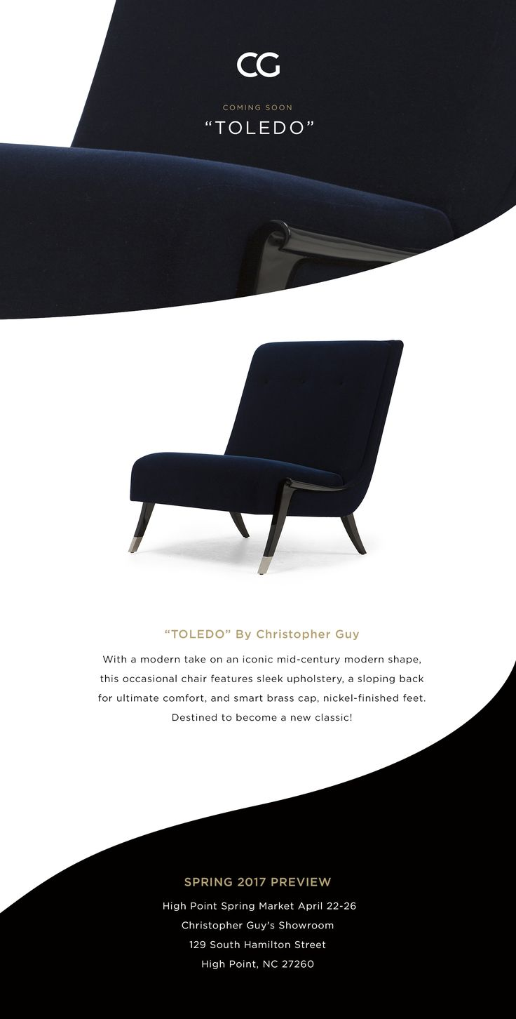 Spring 2017 Preview - Toledo Coming soon at #HPMKT #CGxHP 4 days to go #ChristopherGuy www.christopherguy.com  #chair #furniture #artdeco #darkblue #ottoman #sofa #seating #toledo #blue