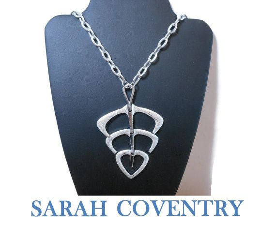 308 best all things vintage sarah coventry images on pinterest sarah coventry modernist pendant large abstract geometric design articulated textured and glossy silver tone drop textured chain 1970s aloadofball Images