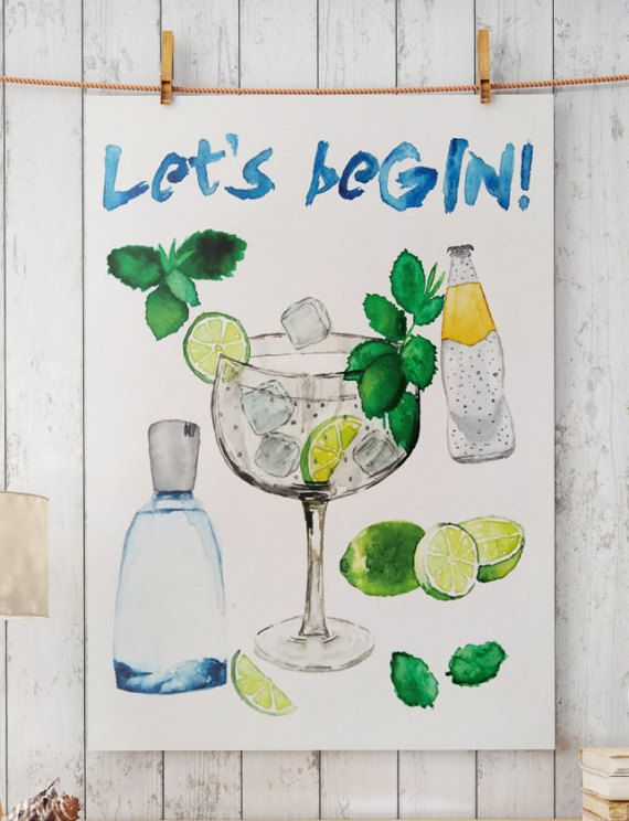 Hand drawn watercolor art. LETS beGIN! ; Perfect for your living / kitchen walls Great gift idea for your friends.  Big resolution of the picture, can be printed on larger formats.  ZuskaArt : artwork | watercolor painting | art prints | canvas art | framed art | canvas painting | watercolour | art...