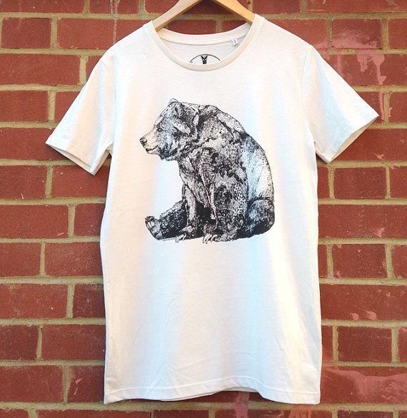 Bear  Screen Printed Organic T-shirt  100% by SandraDieckmann