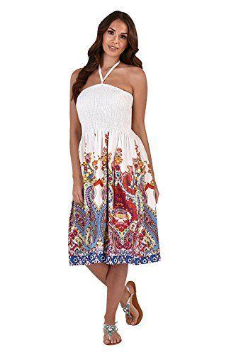 0945e4602f7 Pistachio Womens Ladies 100% Cotton Paisley Print 3 In 1 Bandeau Halter Summer  Dress