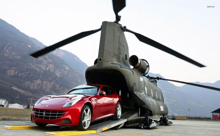Ferrari FF exiting Boeing CH-47 Chinook helicopter HD Wallpaper