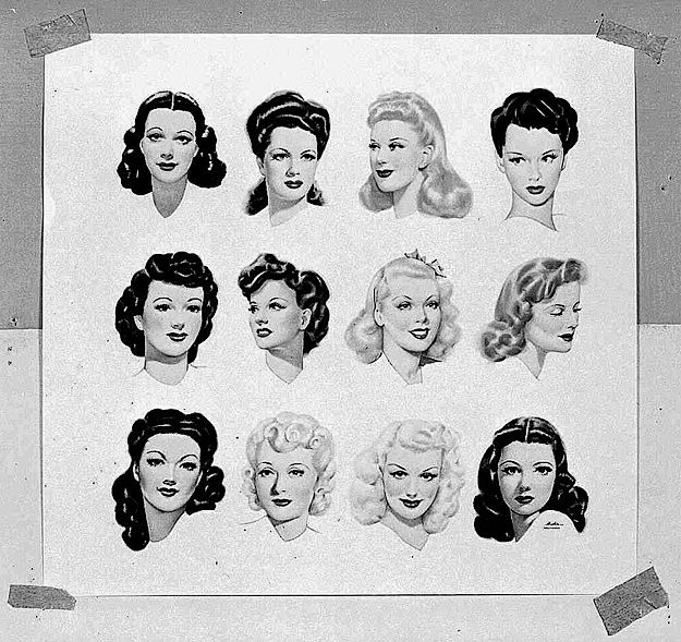 Hairstyles of the early 1940s. Vintage hair, up-do, half up, victory rolls, bangs, pinup