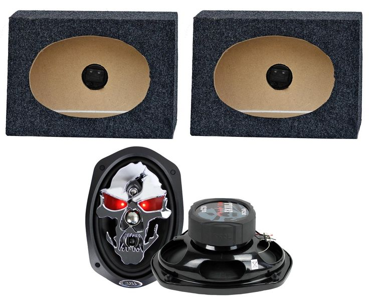 """2) Boss SK694 6x9"""" 700W 4 Way Car Speakers + 2) QTW6X9 Angled 6x9"""" Speaker Box. 700 Watt MAX. Poly Injection Cone Material. Stamped Steel High Gloss Black Baskets. Unique Skull Cover. 2.5"""" Mylar Dome Midrange."""