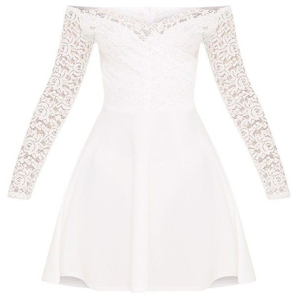 Luciel White Lace Sleeve Bardot Skater Dress ($26) ❤ liked on Polyvore featuring dresses, lace sleeve skater dress, white day dress, white skater dress, white dress and white color dress