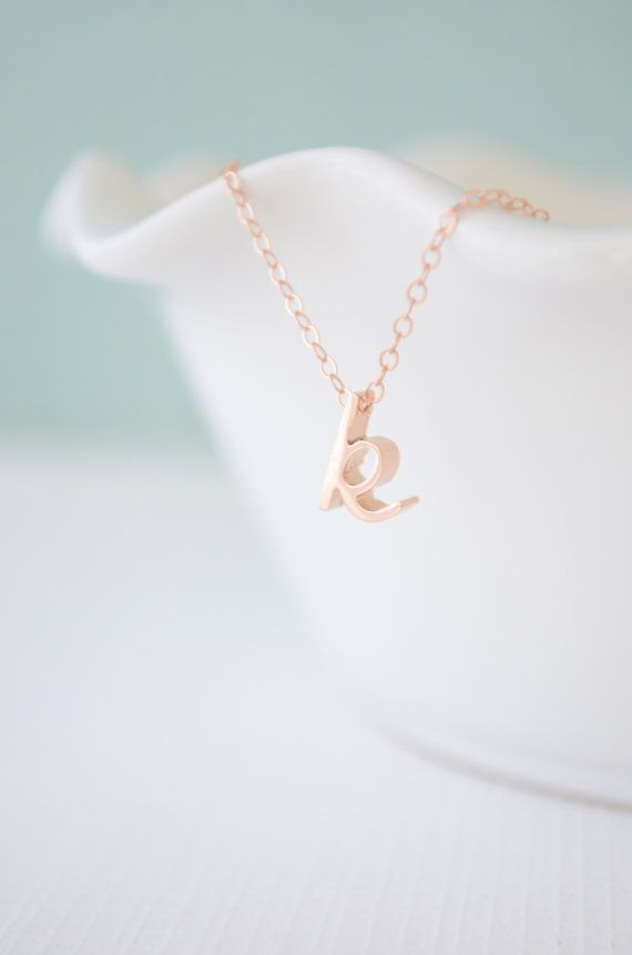 iniziale in corsivo d'oro rosa - Rose Gold Cursive Initial Necklace
