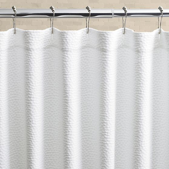 Pebble Matelasse White Shower Curtain in Shower Curtains, Rings | Crate and Barrel