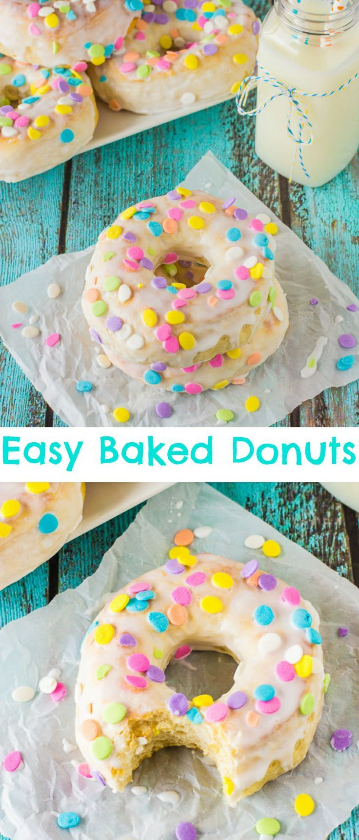 Easy Baked Donuts with a simple vanilla glaze icing and SPRINKLES! | deliciouslysprinkled.com (glaze icing recipe)