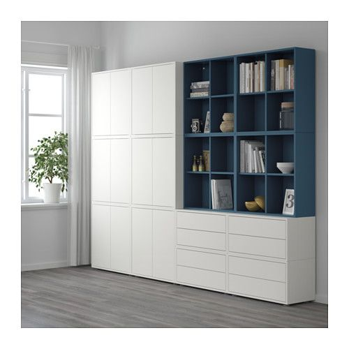 EKET Storage combination with feet - white/dark blue - IKEA