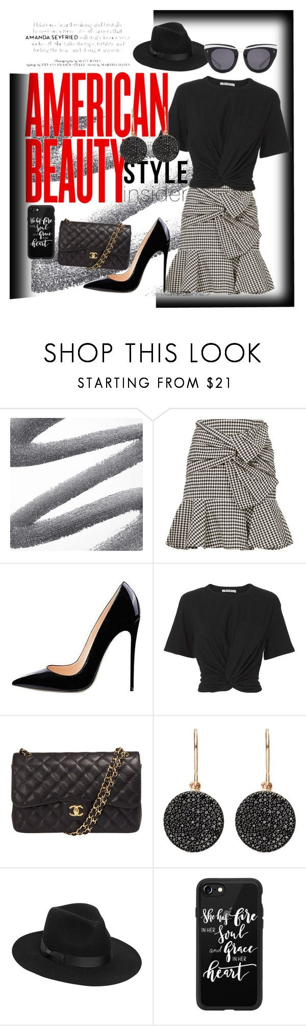 """Black and white Fun 👗👠"" by aasisterstouch ❤ liked on Polyvore featuring Veronica Beard, T By Alexander Wang, Chanel, Astley Clarke, Lack of Color, Casetify and HOOK LDN"