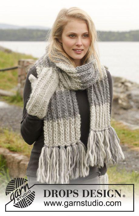 Gebreide DROPS sjaal en wanten met franjes en valse Patentsteek - met dubbele st in Eskimo of Eskimo. Gratis patronen van DROPS Design.