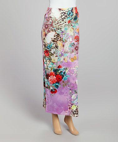 Look at this #zulilyfind! Lavender & Brown Animal Maxi Skirt by Boho Chic-LA, $34 !!  #zulilyfinds