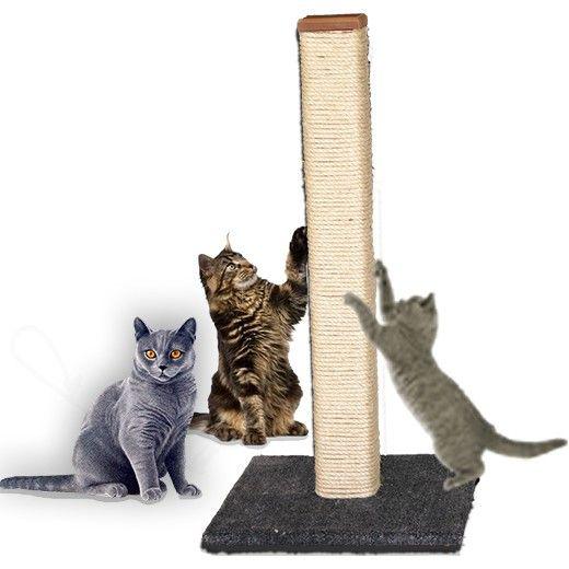 Rascador para gatos  elaborado en materiales de primera calidad para larga duración. Construcción robusta: base en MDF de 40 x 40 cm 15 MM tapizado en alfombra Huiron, poste en pino de 6 x 6  x 80 cm  forrado en lazo de fique calibre 6 para proporcionar a su gato una superficie  eficiente de rascado y opción de un largo elongamiento para su mayor relajacion.