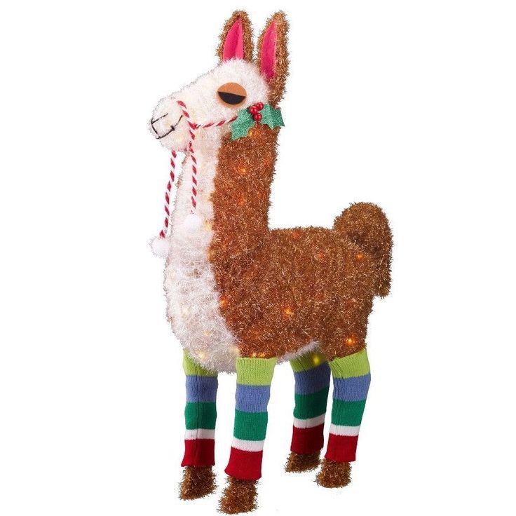 "#Outdoor #Christmas #Yard #Decoration 32"" #Tinsel #Glitter #Lit #Llama with #Socks NEW"