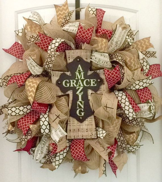 Cross Wreath, Religious Wreath, Christian Wreath, Religious Gift, Burlap Cross…                                                                                                                                                                                 More