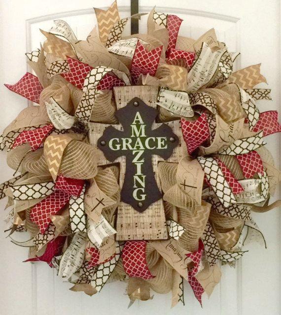 Cross Wreath, Religious Wreath, Christian Wreath, Religious Gift, Burlap Cross…                                                                                                                                                                                 More