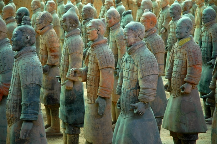 The Terracotta Army, life-sized terracotta statues of the armies of the first Emporer  of China ,Qin Shi Huang, were discovered in 1974 by local farmers. They date from 210-209 bc. There are over 9,000 statues including warriors, horses, chariots, musicians, aristocrats, and other non-military figures.