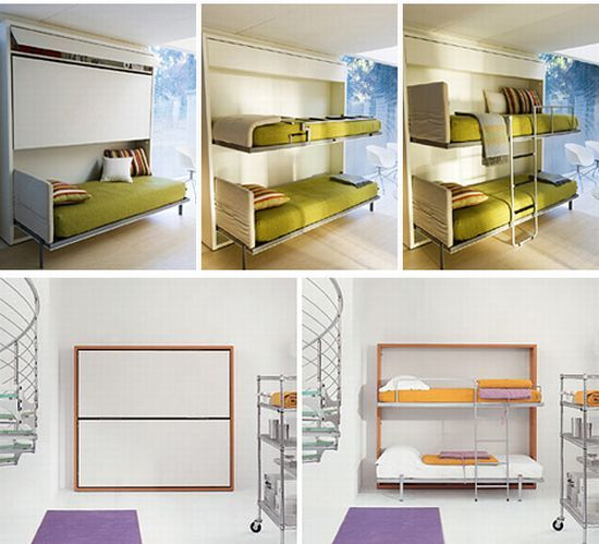 Lollipop Bunk Beds That Fold Up Into Wall   Cool Idea, But I Imagine This