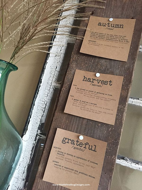 I added these free simple Definitions of Fall printable home decor to my house this autumn season...just grabbed some old wood and they worked great on my mantle! Easy, inexpensive DIY home decorations.