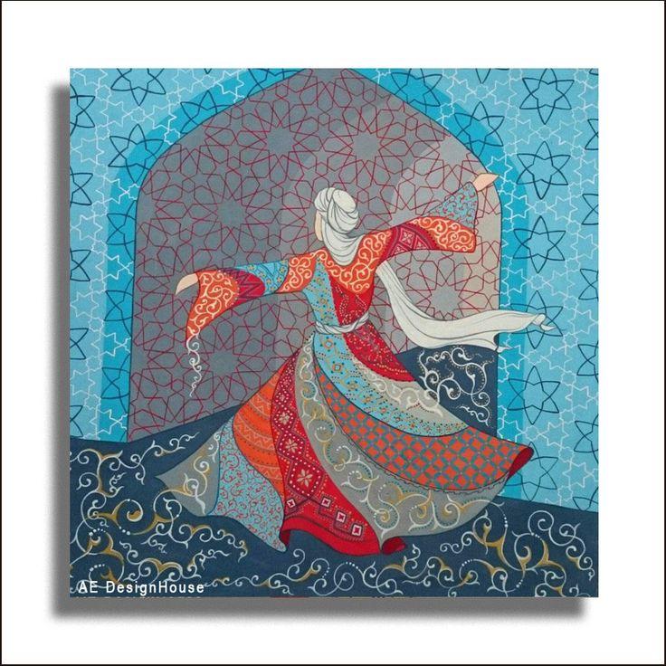 Original Painting Whirling Dervish Sufi Dance Rumi Miniature - AESMPM0020