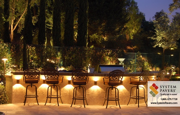 bbq island outdoor lighting by system pavers bbq backyard remodel