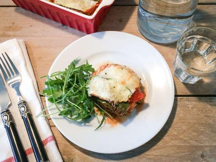 Courgette-lasagne met gehakt, tomaat en champignons