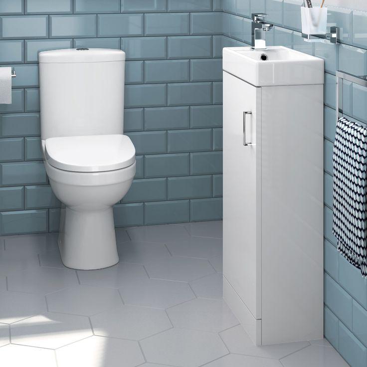 Sabrosa II Toilet & 400mm Slimline Basin Cabinet Cloakroom Set - Gloss White