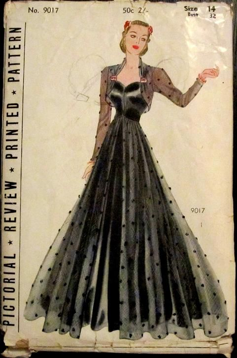 """Pictorial Review 9037; ca. 1937; Misses and Womens Frock and Bolero printed pattern. """"Elegance personified will she be who chooses this beautiful evening gown. Reminiscent of the fascinating 1900s is the heart shaped decolletage. A tiny bolero with long sleeves may be clipped to the bodice and a graceful overskirt added to the full flowing skirt""""."""