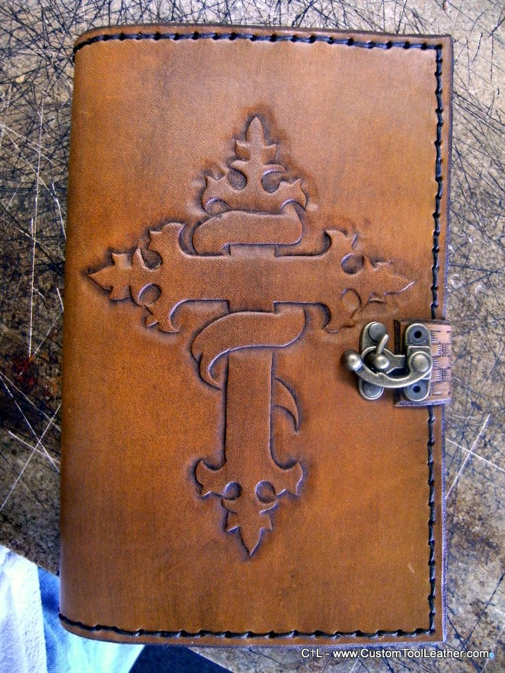 Custom hand-tooled leather bible cover.