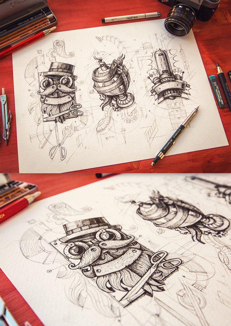 20 gezeichnete Logoskizzen