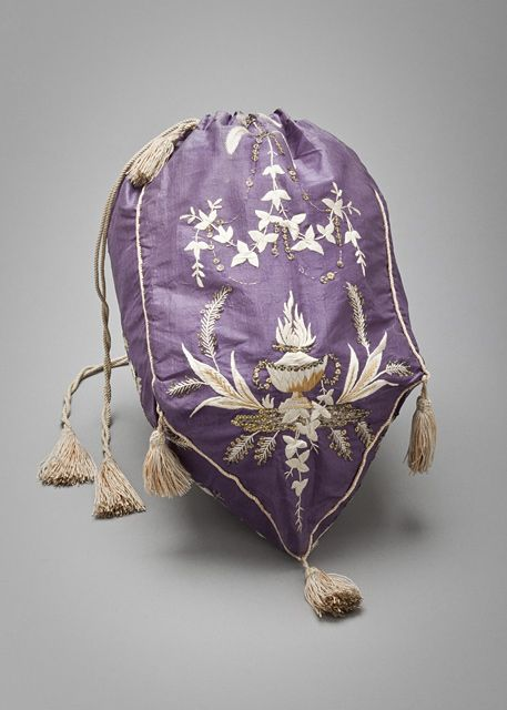 "Woman's Reticule, France, 1800-1825, LACMA Collections Online. Reticules were the must-have ""it bags"" of 1800-1825. Too small for carrying much more than a few coins."