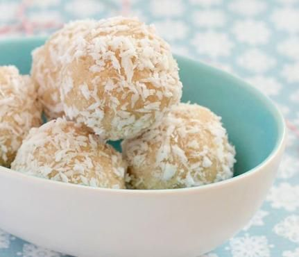 """No-Bake Holiday Treats: Call it the """"un-cookie."""" This festive recipe from TheKitchn, calls for a host of goodies you probably already have stocked, including maple syrup and cinnamon. Add coconut milk, coconut, shredded coconut, vanilla and sea salt. Then roll your dough into 1-inch balls, place in the fridge then enjoy. #SelfMagazine"""