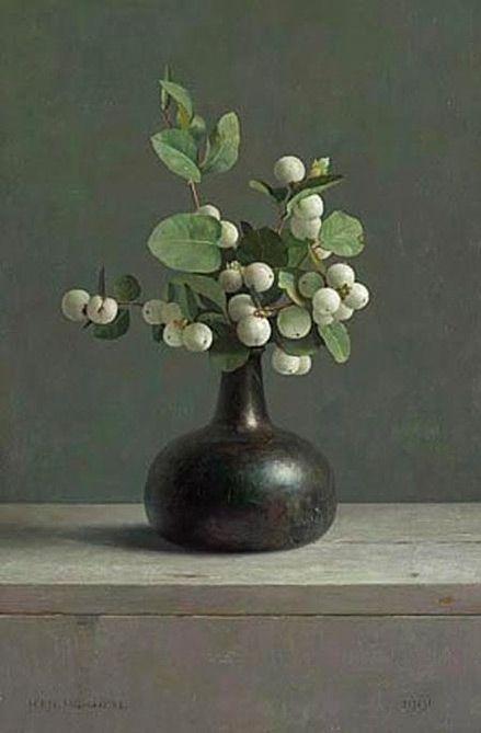 snowberries in bud vase