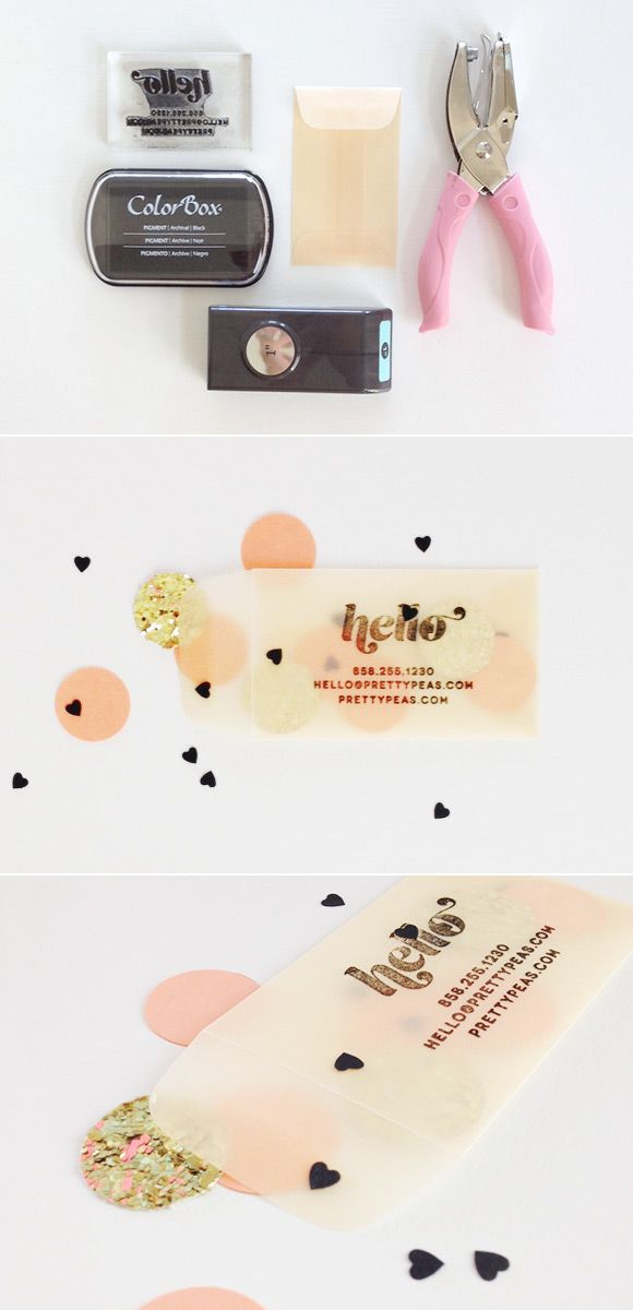 DIY stamped business cards | confetti-filled coin envelope