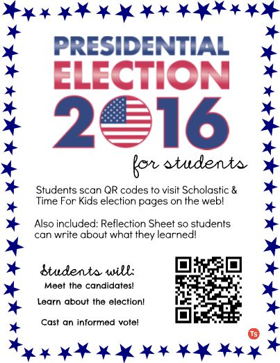 Give students the opportunity to learn more about the 2016 Presidential Election, the candidates, and more through an exploration of the Scholastic and Time For Kids Election pages. Students can simply scan the included QR codes to go straight to the webpages. There is also a printable included in this pack for students to reflect and write about what they learned. If you'd like to make this activity easier or more challenging for your students, you can make changes on the TeacherSherpa…
