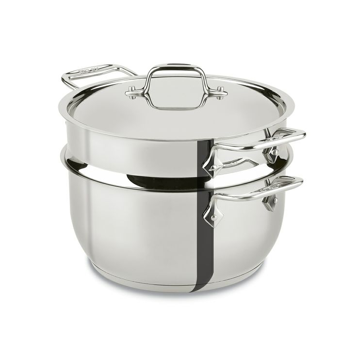 All clad triply stainless steel pot with steamer insert