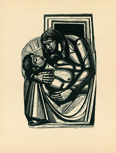 Woodcut by A.Tassos.-. Ξυλογραφία του Α. Τάσσου
