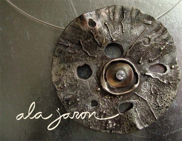 Ala Jaron Jewelry--Beautiful! round pendant - highly distressed with set stone in centre and gold detailing. mixed metal unique statement necklace / pendant
